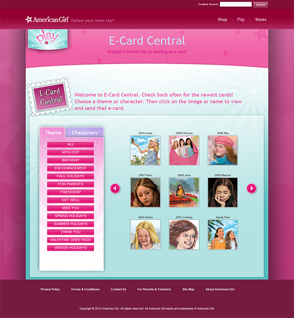 E-card Central redesign screenshot