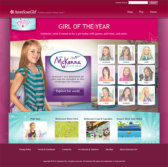 Play@ American Girl site screenshot